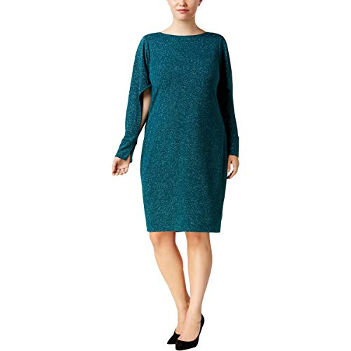 (Calvin Klein Womens Plus Split Sleeve Shimmer Cocktail Dress Green 16W)