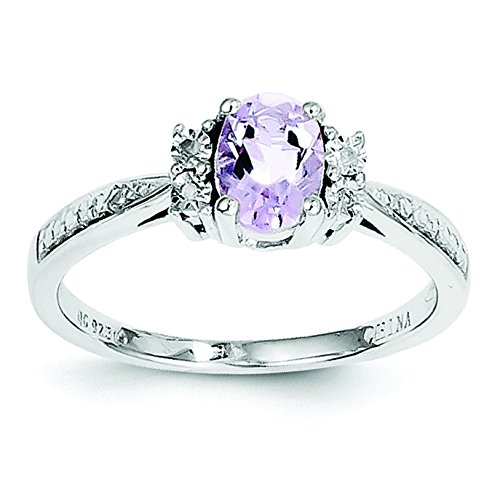 Cut Pink Amethyst Ring (Sterling Silver Diamond and Pink Amethyst Ring - Size 8)