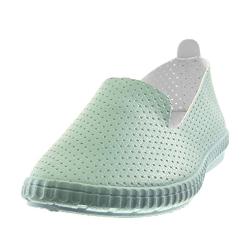 Angkorly Damen Schuhe Mokassin - Slip-On - Flexible - Perforiert Flache Ferse 2 cm Hellblau