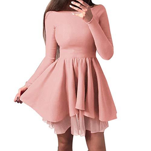 JPOQW-summer Women's Long Sleeve Dress Off Shoulder Tutu Skirt Slash Neck Solid Bohemian Sundress Pink ()