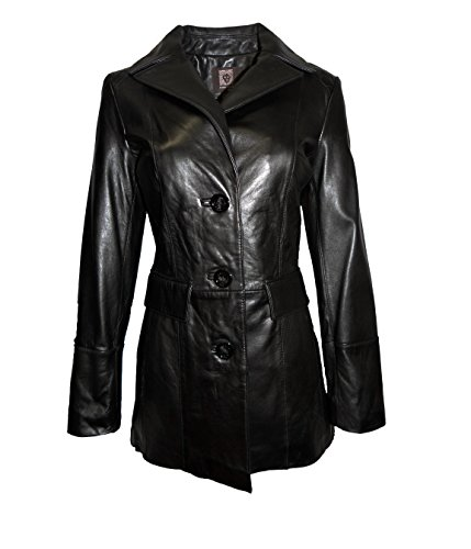 ANNE KLEIN Mid-Length Button Front Leather Jacket-Black-S