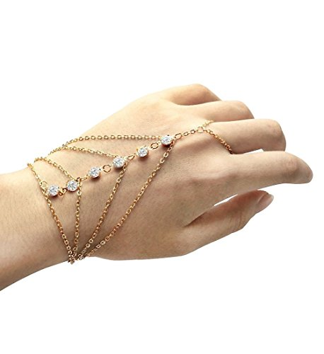 Furivy Pop Celebrity Multi Chain Tassel Crystal Bracelet Slave Finger Ring Hand Harness (Multi)]()