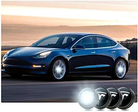 4PCS Tesla Model 3 Car Aero Wheel Logo Center Hub Cap Cover Modification,  Emblem LED Light Magnetic Levitation Waterproof,Special Tire Center Lamp