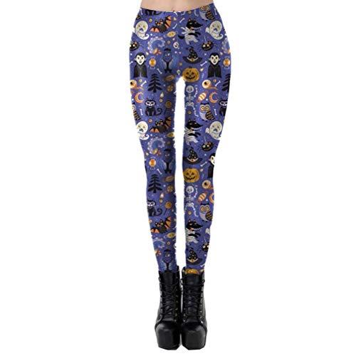 Pencil Taille Zhrui Happy XL Halloween Womens Violet Citrouille Violet Couleur Pants Leggings Casual Skinny Stretch w7w0qaZ