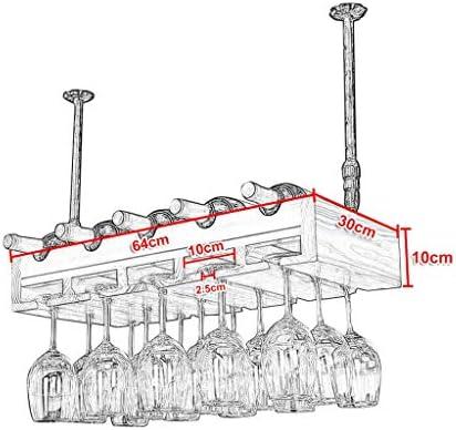 LJWJ Estante para Vinos, Bar, Restaurante, Colgante, Estante para Copas de Vino, Estante para Botellas de Vino para 5 Botellas, Estantes de Exhibición Decorativos para Copas de Vino, para Colgar 15 C