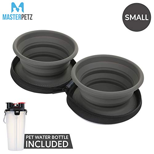 MASTERPETZ Collapsible Dog Water Bowl and Bottle Set, 2 in 1 Pet Travel Bottle for Food Water, Small Portable Feeding…