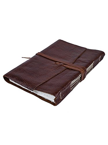 Tobacco-coloured leather autograph book with laces