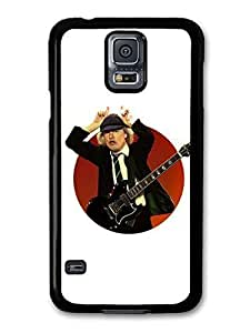 AMAF ? Accessories ACDC Angus Young Illustration with Guitar Showing Horns case for Samsung Galaxy S5