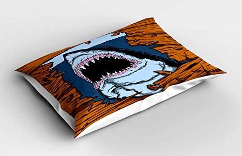 ABAKUHAUS Haai Siersloop voor Kussen Wild Fish Houten Plank Decoratief Standaard Maat Bedrukte Kussensloop 80 cm x 40 cm Ginger Dark Blue