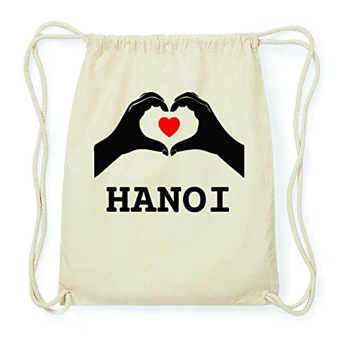 JOllify HANOI Hipster Turnbeutel Tasche Rucksack aus Baumwolle - Farbe: natur Design: Hände Herz