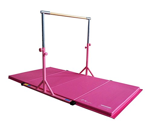 Z Athletic Expandable Kip Bar Adjustable Height for Gymnastics, Training & 4ft x 8ft x 2in Mat (Pink)