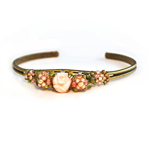 Dainty Angel Skin Coral Cuff Bracelet with Tourmaline Accents; Artisan Crafted One of a (14k Coral Bracelet)