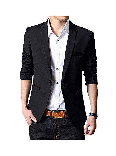 Natures Banquet Best Blend - GEEK LIGHTING Slim Fit Single One Button Blazer Jackets for Men (US X-Large/Label 5X-Large, A-Black)