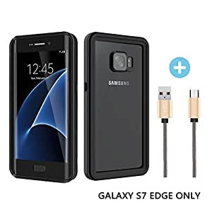 Verhux Waterproof Galaxy S7 Edge Case Include 1FT Android USB Charging Cable, Underwater Full Body Clear Protective Samsung Phone Shell Cover With Military Tested Shockproof Design