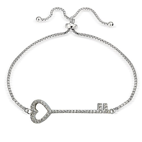 Hoops & Loops Sterling Silver Cubic Zirconia Heart Key Pullstring Adjustable Bracelet