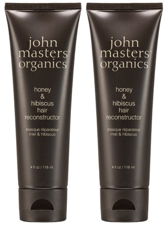 John Masters Organics Honey and Hibiscus Hair Reconstructor (Pack of 2) with Soy Protein, Cupuacu Butter, and Beech Bud Extract, 4 fl. oz. (John Organics Honey Masters)