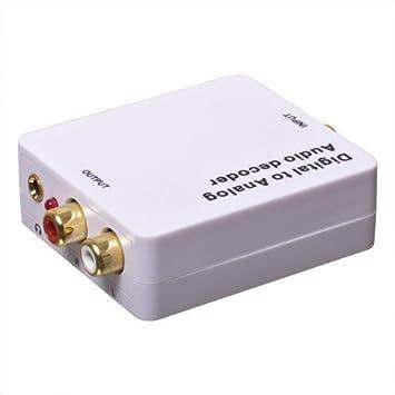 Winpoon - Conversor de señal de audio digital a analógico (conectores coaxial, Toslink y