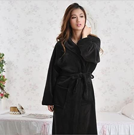 Luxury Womens Mens Thermal Coral Fleece Dressing Gowns Super soft Bath Robes  (Black 6e5f5a7b6