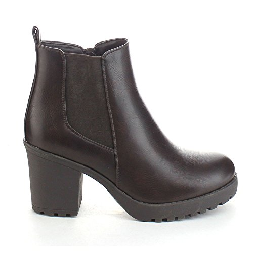Refresh Club-01 Frauen Elastische Platte Slip On Blockabsatz Ankle Booties Braun