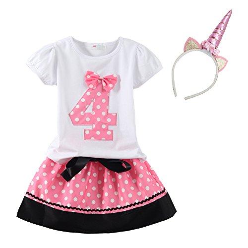 Mud Kingdom Little Girls Birthday Outfits I Am 3 Year Pink Unicorn 4T by Mud Kingdom