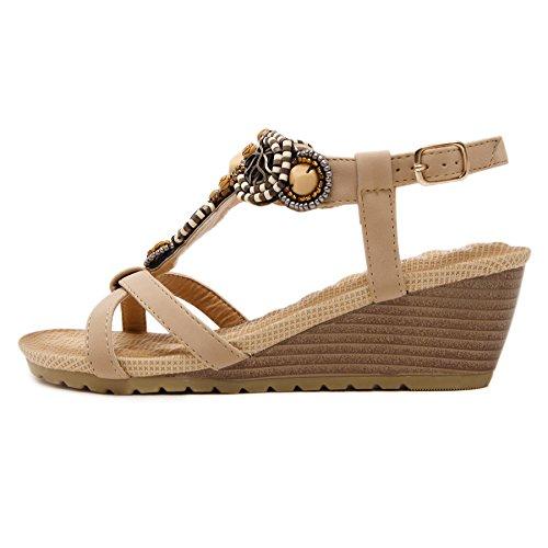TONG Mujer Zapatos de la playa de Bohemia dulce de abalorios sandalias del dedo del pie Nude
