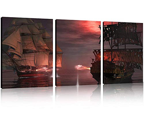 TutuBeer 3 Panel Pirate Ship Decor Canvas Print, Ready to Hang 12