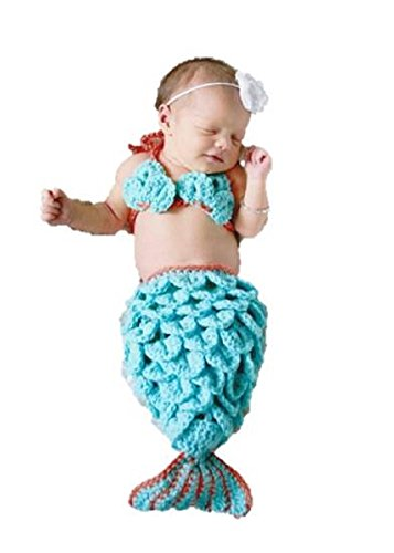 Joy Baby Infant Costume Photo Photography Prop (Newborn-6 Months) - Mermaid Light Blue with white head