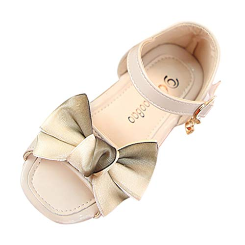 Sumen Summer Toddler Sandals Baby Girls Bowknot Pendant Casual Princess Shoes Beige