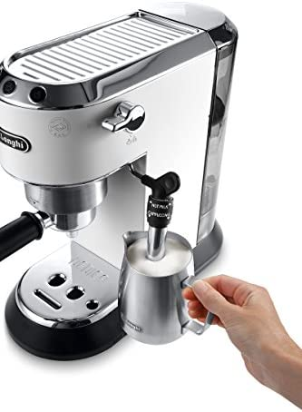 De'Longhi Dedica Style, Machine expresso pour préparer des boissons café et lactées, EC685W, Blanc