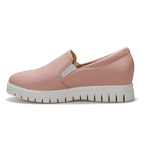 Kvinners on Tå Materiale Rosa Voguezone009 Kattunge Pumper sko Runde Hæler Mykt Pull Kiler Lukket 1TY66qdS