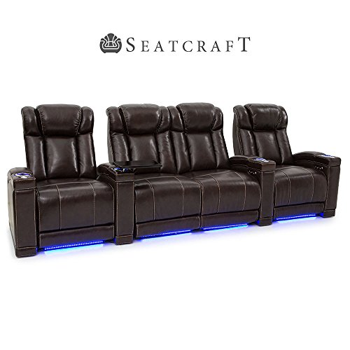 Seatcraft Sierra Home Theater Seating Leather Power Recline and Adjustable Power Headrests (Row of 4 with Middle Loveseat, Brown)
