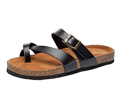Unisex Ladies Womens Sandals Comfort Cork Single Buckle Mules Flip Flops Beach Shoes Black uUcfkgzY8J