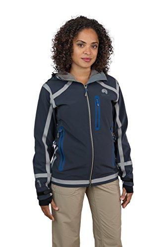 Mishmi Takin Cayambe - Seam Taped, Waterproof, Windproof, Fleece Lined, Hooded Soft Shell Jacket - Women's (X-Large, Blue-Grey)