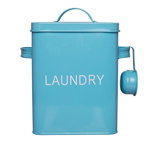 Laundry Detergent Container, 4 FREE Mesh Bags, Blue Metal Washing Soda Box