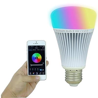 KPBOTL 110V 8W RGBWhite Bluetooth 4.0 E27 Led Lamp Led Bulb Smart Lighting Lamp Color Change Dimmable For Android IOS Room Lighting Bar Ktv