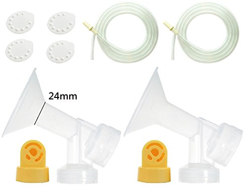 Nenesupply Pump Parts Use with Medela Pump In Style Breastpump PISA with 2 Medium 24mm Breastshields 2 Valves 4 Membranes and 2 Tubing Not Original Medela Pump Parts Not Original Medela Breastshield