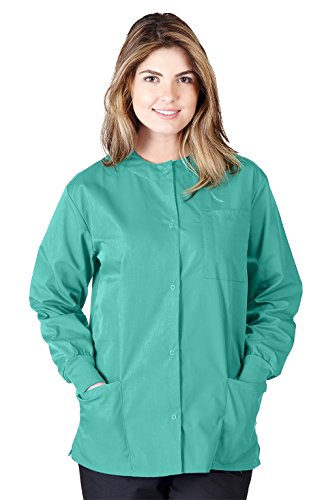 (Natural Uniforms Women's Scrub Warm Up Jacket (Plus Sizes Available) (XXX-Large, Surgical Green))