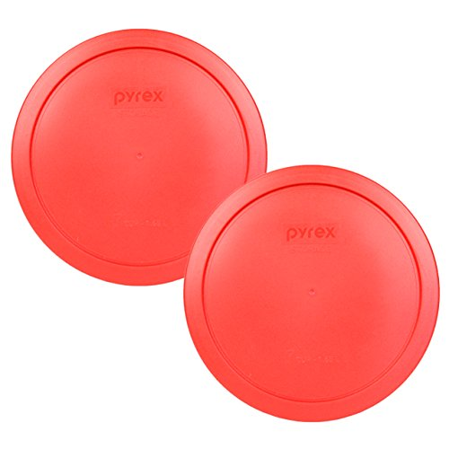 "Pyrex 7402-PC Red Round Storage Replacement Lid Cover fits 6 & 7 Cup 7"" Dia. Round (2-Pack)"