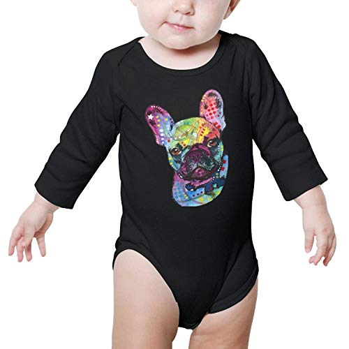 GFJHBVNBVC French Bulldog Pet Dog Printted Baby Crawling Suit Lone-Sleeved Romper Bodysuit