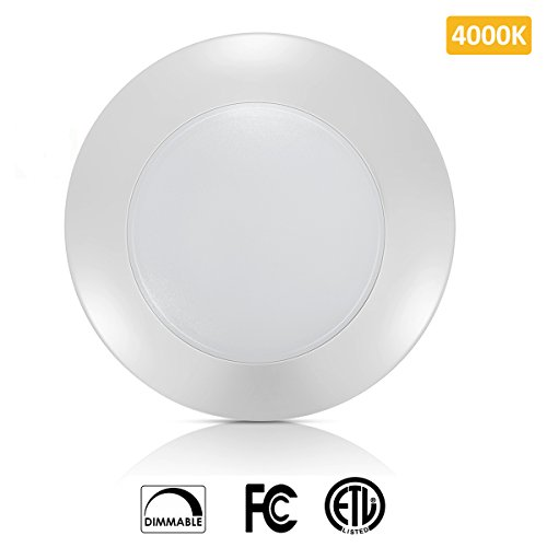 SOLLA 6 inch Dimmable LED Disk Light Flush Mount Ceiling Fixture with ETL FCC Listed, 750LM, 12W (70W Equiv.), Natural White, 4000K, White Finish, Ultra-Thin, Round LED Light for Home, Hotel, Office