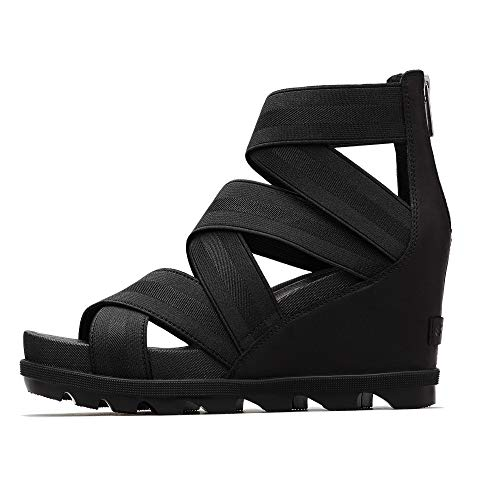 Sorel - Women's Joanie II Strap Leather Open Toe Wedge Sandals, Black, 9 M US