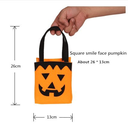 Alicia Haines Halloween Pumpkin Trick or Treat Bag Kids Candy Bag Tote Handbag for Halloween Party Costumes Decor (Square smile face pumpkin (Alicia Halloween Costume)
