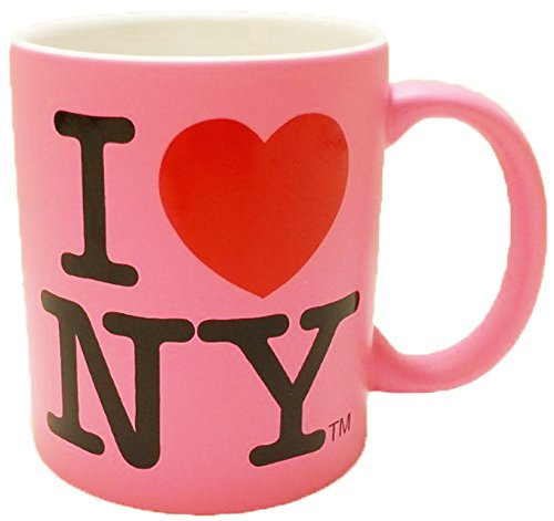 I Love New York Colorful Mugs- 11 oz Double Sided I Love NY Mugs in Colors Yellow, Pink, Orange, Blue, Purple, Black and White Souvenirs (Hot Pink)