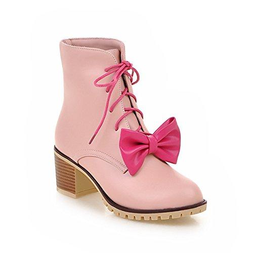 Frauen-Starke Ferse Spitze Zehe Lace-up Fliege Lack Leder Stiefeletten Pink