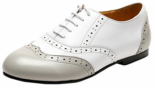 Ulite Women's Two Tone Perforated Wing Tip Lace Up Flat Oxford, Light Weight Comfortable Spring Summer Shoes WG7 White Grey