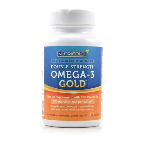 NutriGold Double Strength Omega-3 Gold, 180 Softgels (Gold Standard Fish Oil Supplement with 500 mg EPA and 250 mg DHA Per Softgel) 1,500 Omega-3s per Serving of 2 Capsules