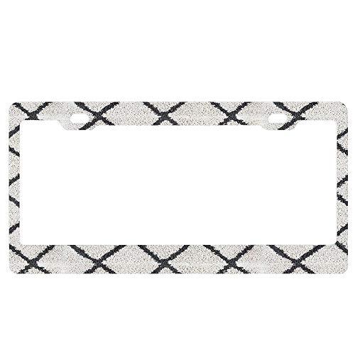 Eagles Geometric Rug - ASUIframeNJK Berber Shaggy Rug Geometric Black and White │ Texture Home Lifestyle Custom Metal License Plate Frame Tag Holder Aluminum Funny Stylish