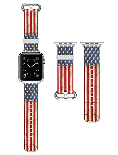 Dsigo Replacement Band for Apple Watch 38mm Series 2 Series 1, Strap Leather Bands for iwatch, Leather Sport Style Wristband, Personalized Design, Retro Stars and Stripes - Stripes Cuff Watch