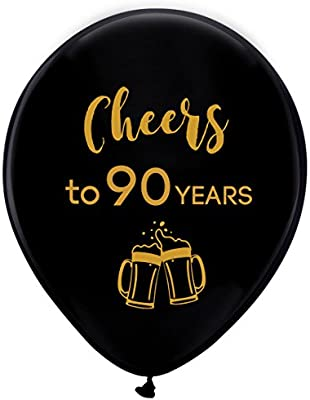 Amazon Black Cheers To 90 Years Latex Balloons 12inch 16pcs 90th Birthday Decorations Party Supplies For Man And Woman Kitchen Dining