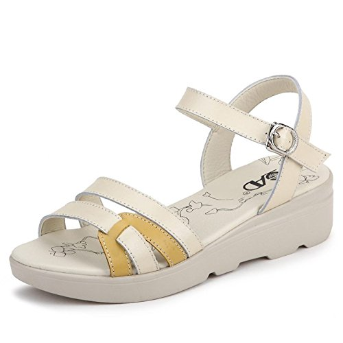 Xing Lin Ladies Sandals Summer Leather Casual Shoes Sandals Women Slope With Students Thick-Soled Women With Slip-Resistant Sandals Women Summer yellow